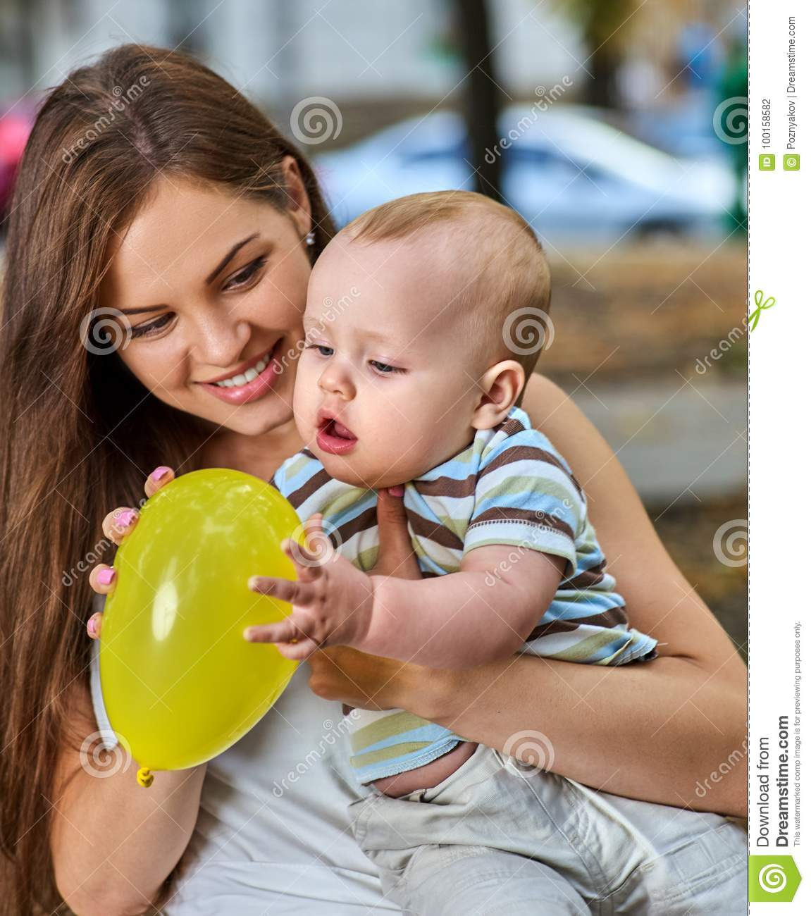 First Birthday Ideas Happy Mother And Her Baby Boy Outdoors Stock