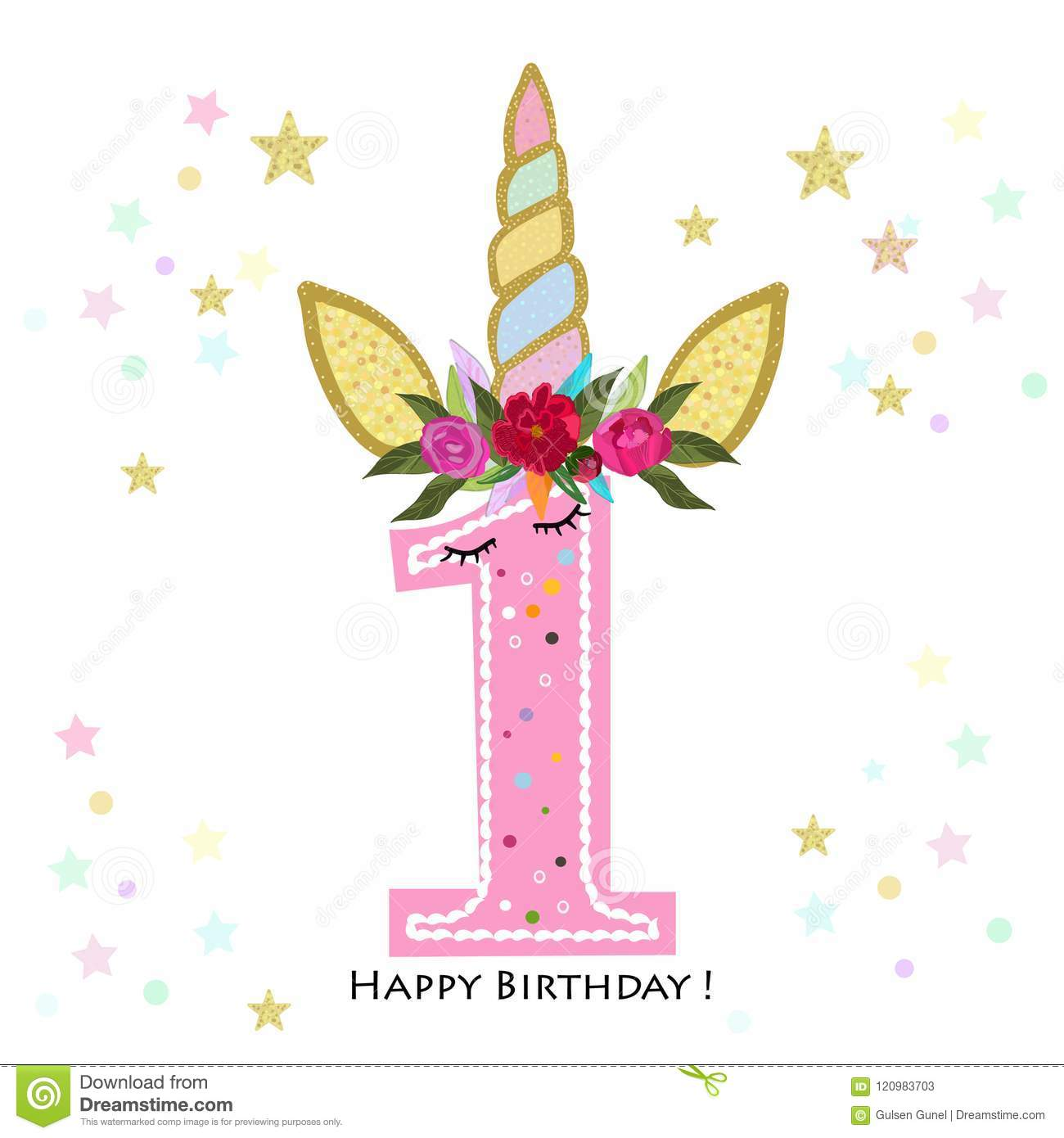 First birthday one unicorn birthday invitation party invitation download first birthday one unicorn birthday invitation party invitation greeting card stock vector stopboris Choice Image