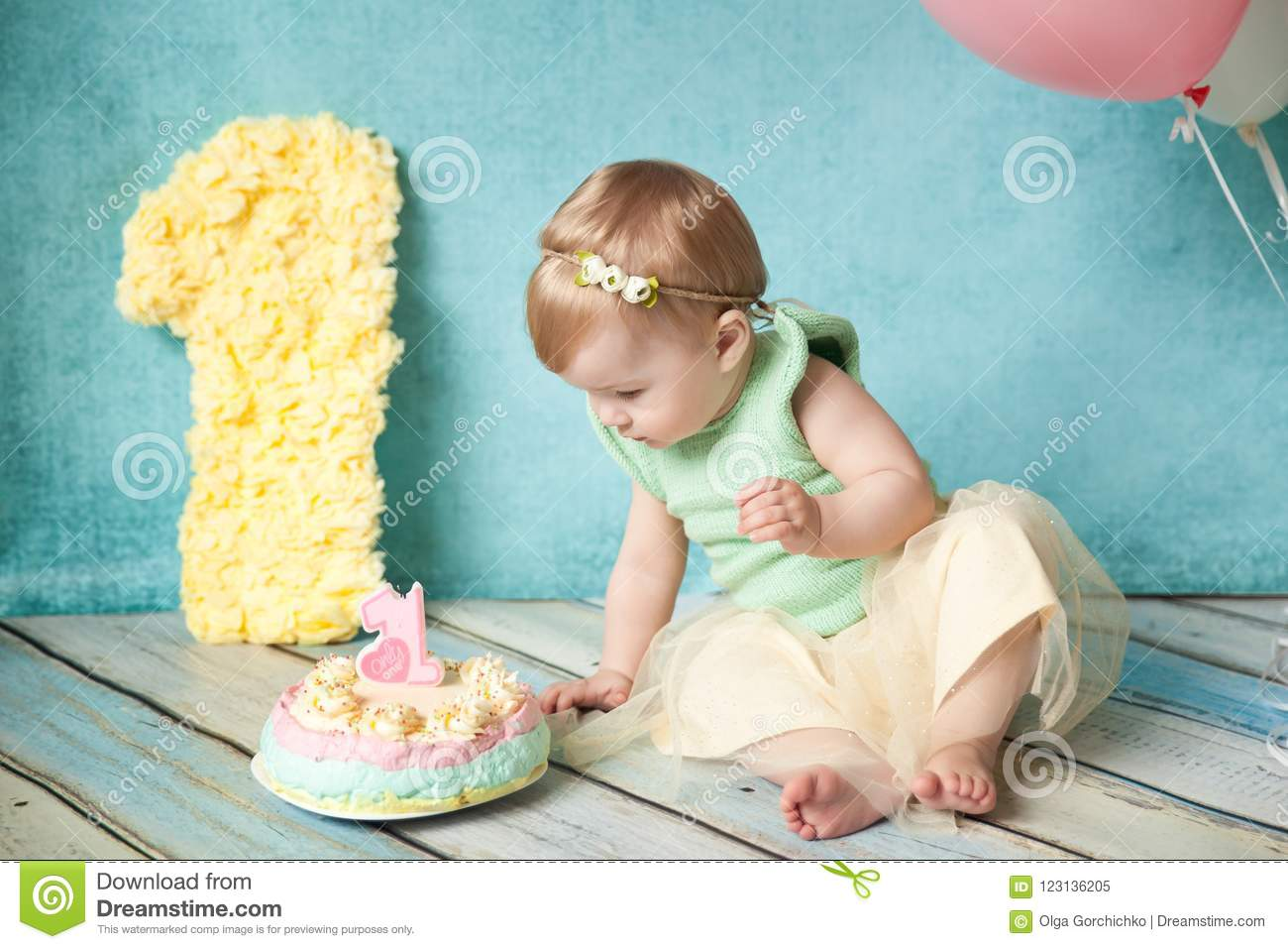 Amazing First Birthday Party Cute Little Girl Stock Image Image Of Girl Funny Birthday Cards Online Unhofree Goldxyz