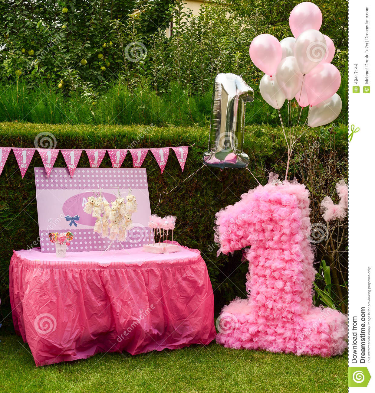 First Birthday Party Decorations Gifts Stock Photo Image 49417144