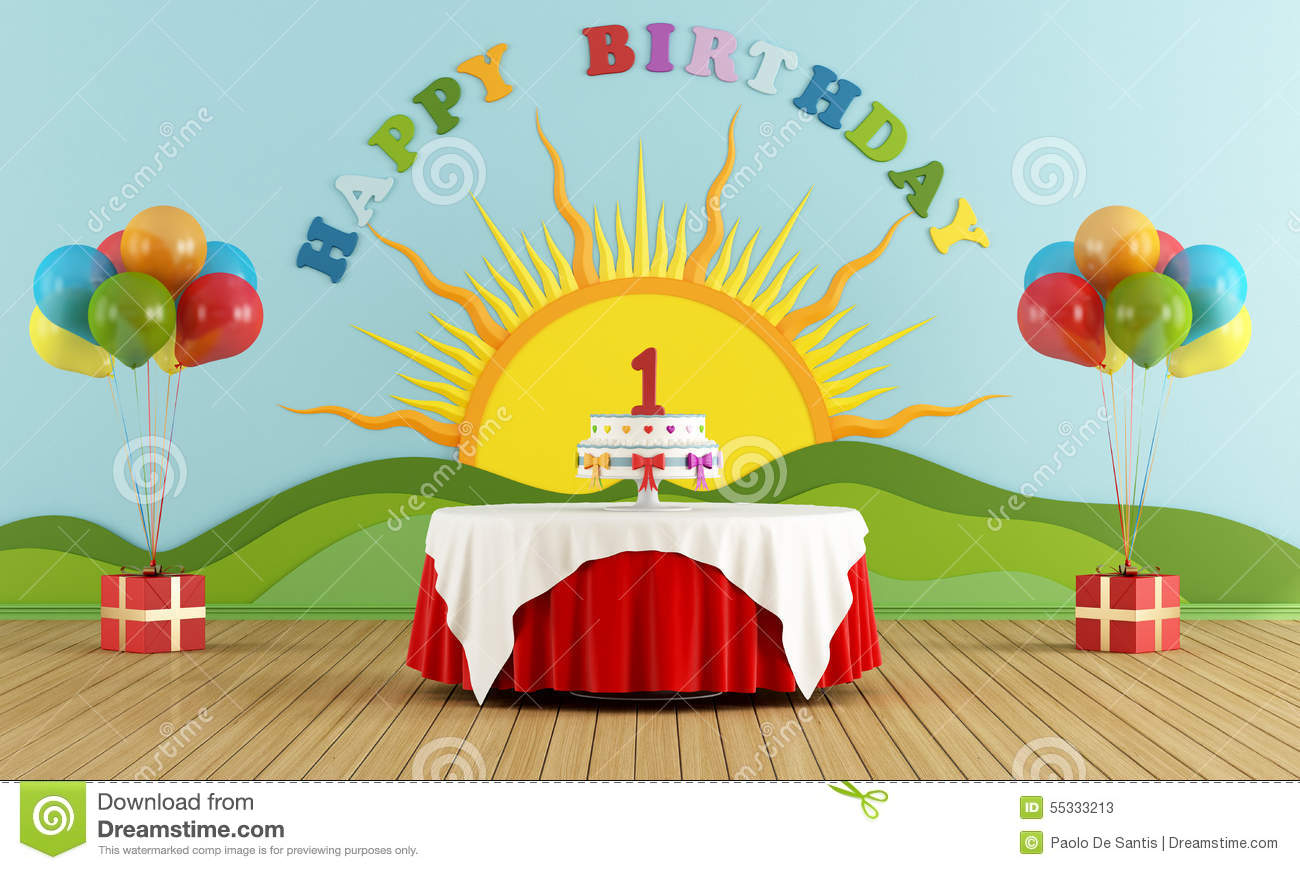 First Birthday party stock illustration. Illustration of tablecloth ...
