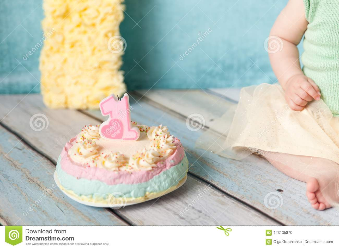 First Birthday Party Sweet Cake With A Candle Number One Stock