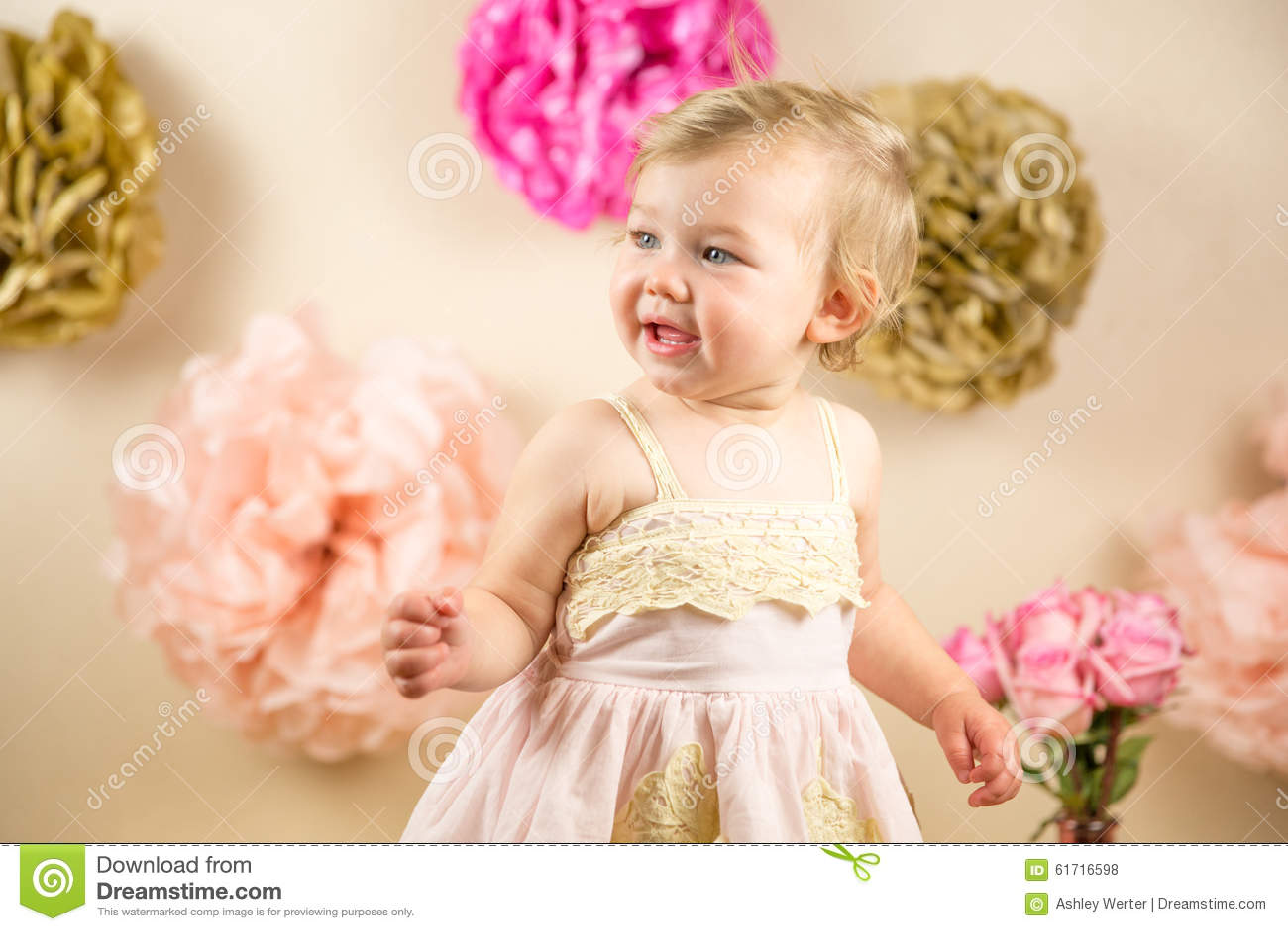 First Birthday Photoshoot Stock Photo Image Of Dress 61716598