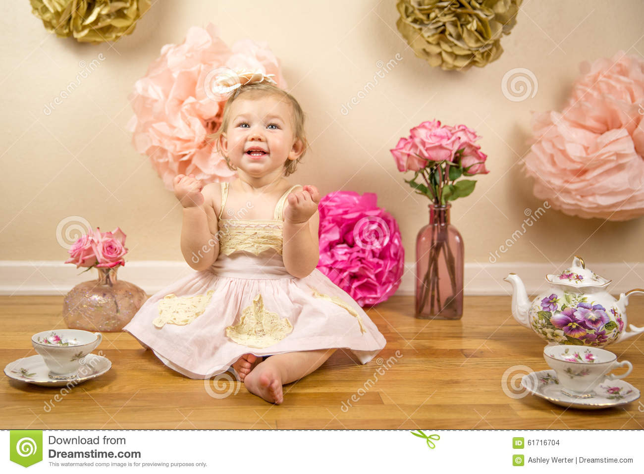 First Birthday Photoshoot Stock Photo Image Of Pink 61716704