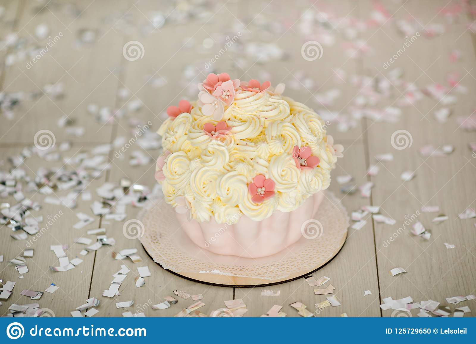 First Birthday Pink Cake With Flowers For Little Baby Girl And Decorations Smash