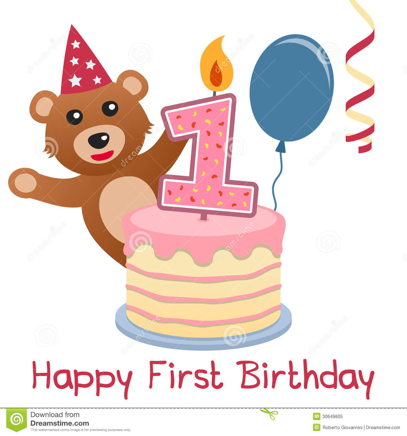 First Birthday Teddy Bear Stock Vector Illustration Of Greetings