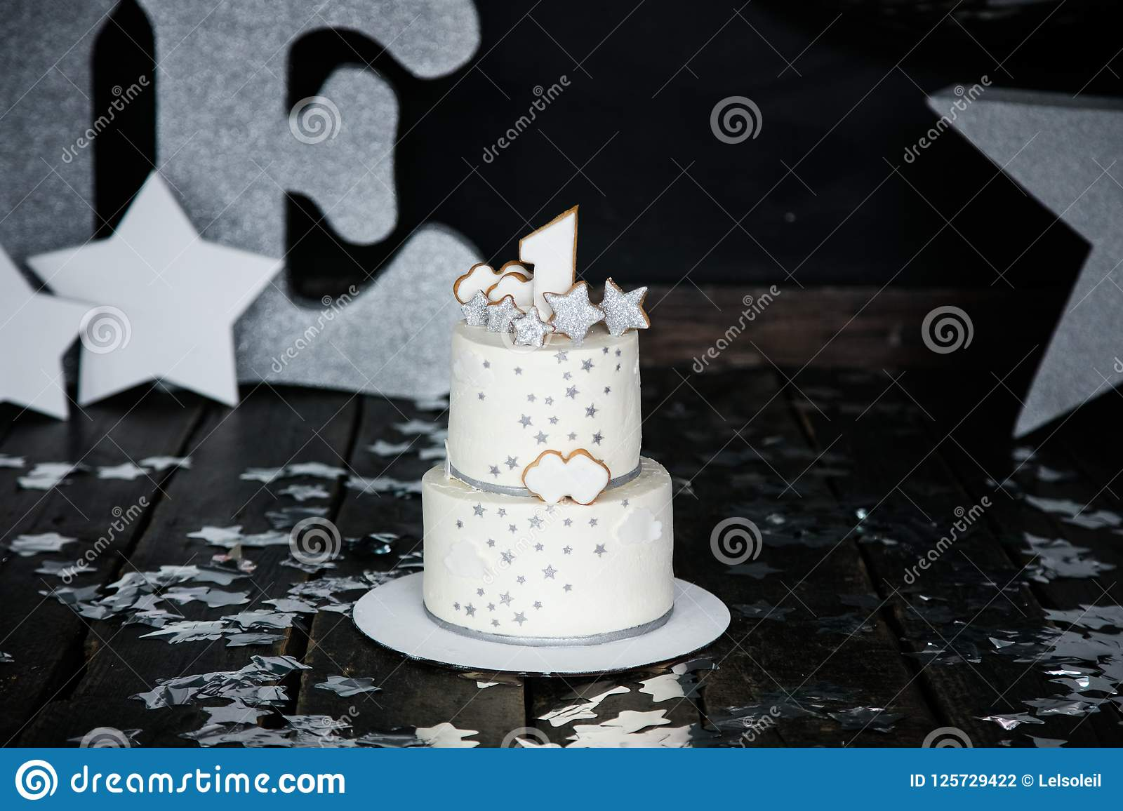 First Birthday White Cake With Stars And Candle For Little Baby Boy Decorations Smash