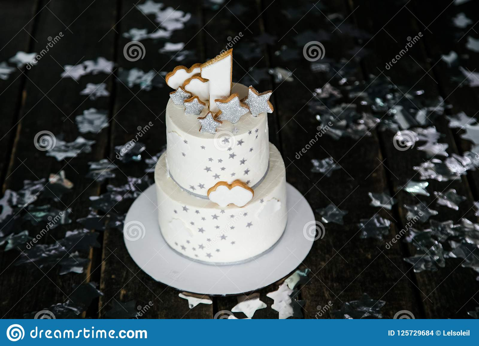 First Birthday White Cake With Stars And One Candle For Little Baby Boy Decorations Smash Black Background
