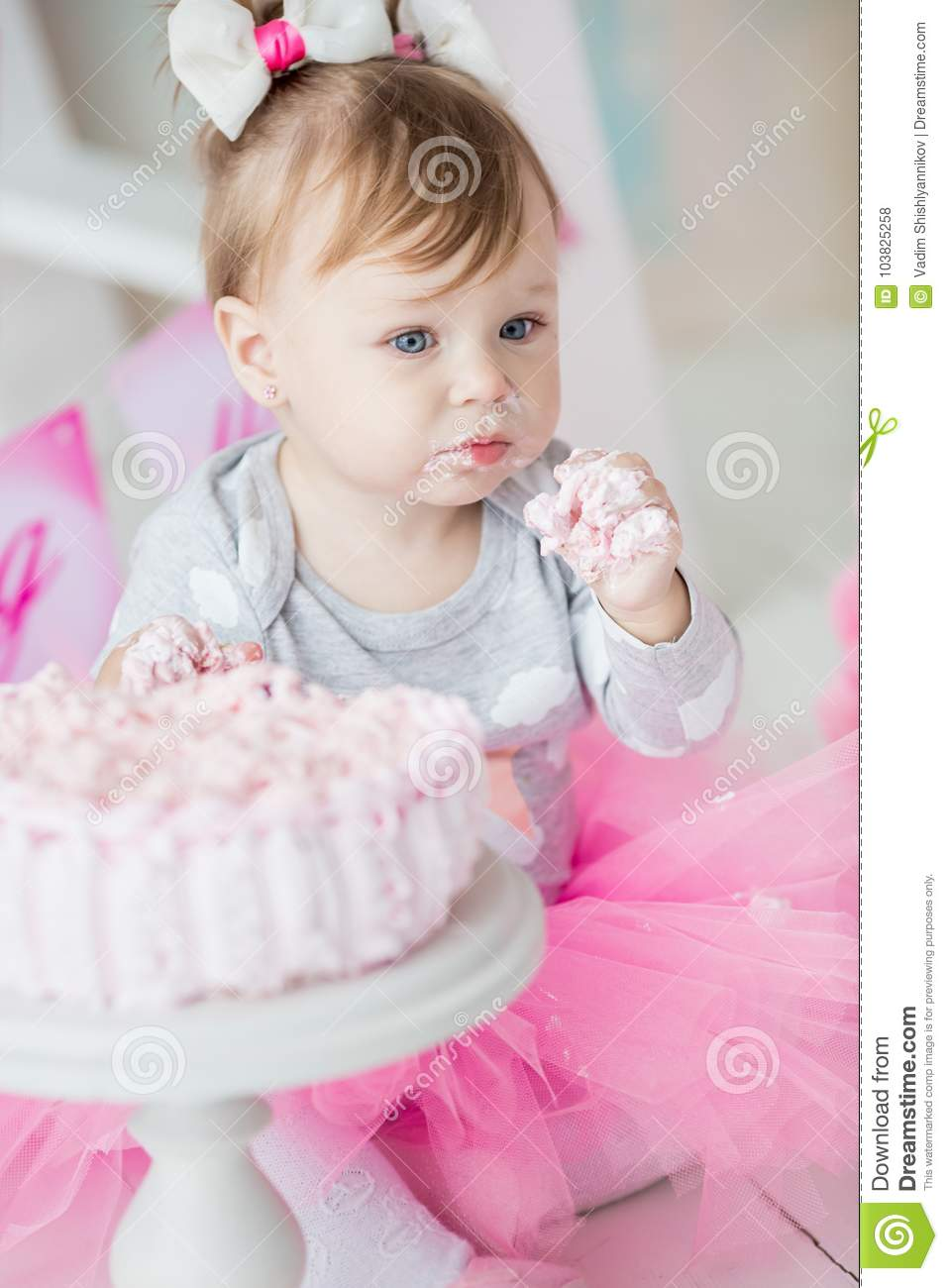 Surprising The First Cake Baby Portrait Of A Baby Stock Photo Image Of Funny Birthday Cards Online Hendilapandamsfinfo