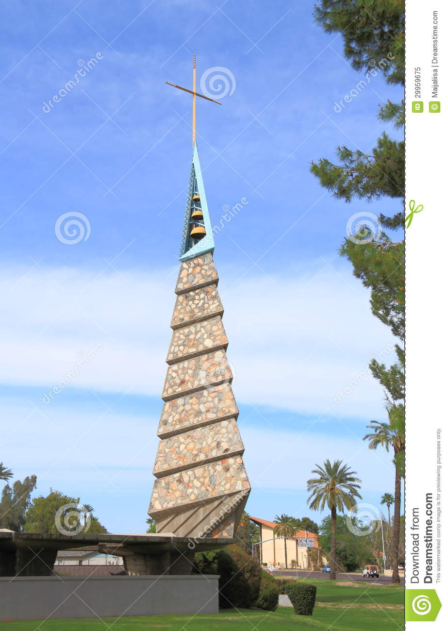 USA, AZ/Phoenix: F. Lloyd Wright Church/Bell Tower