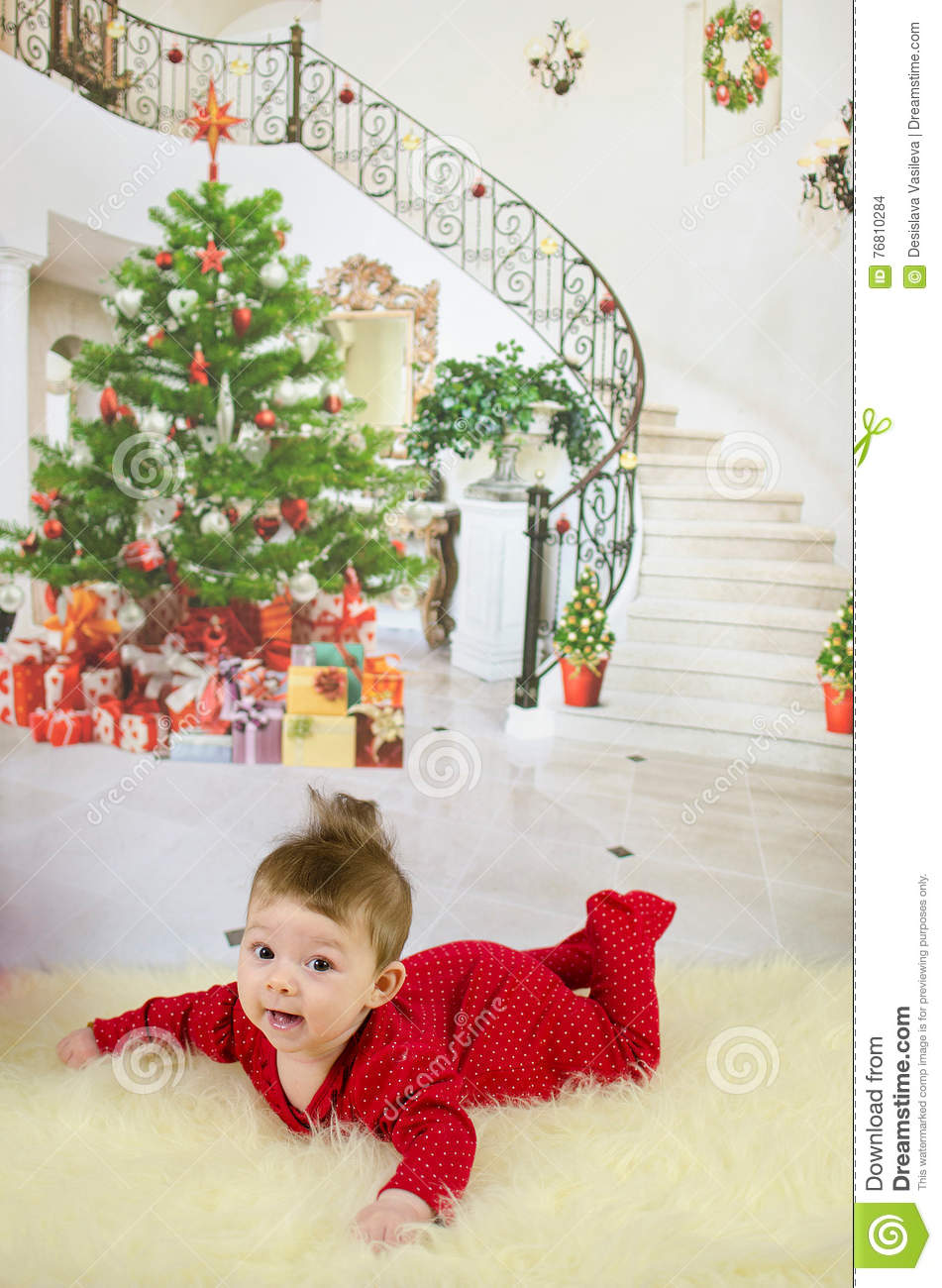 First Christmas stock photo. Image of beautiful, under - 76810284