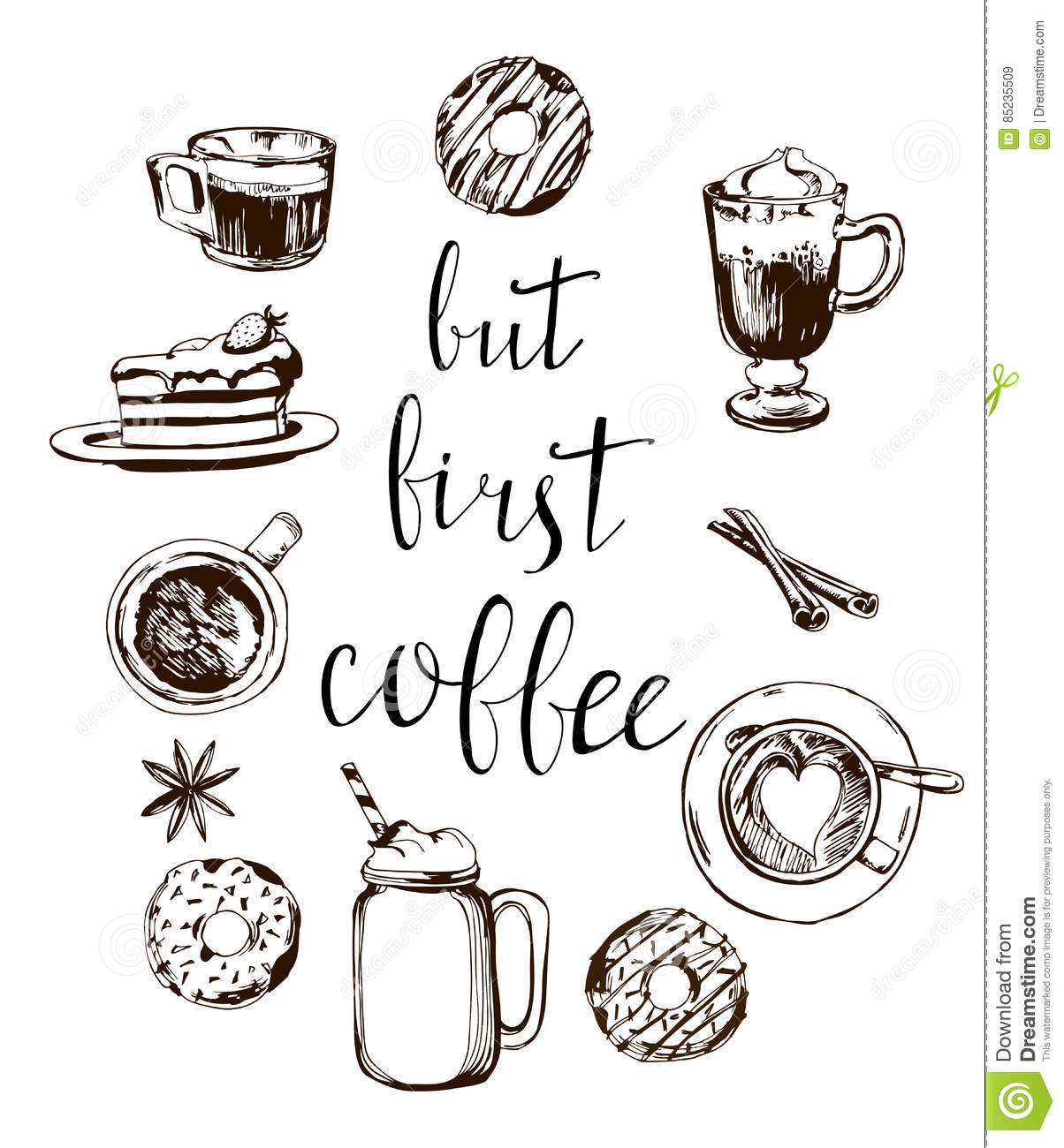 But first coffee card modern calligraphy with doodle