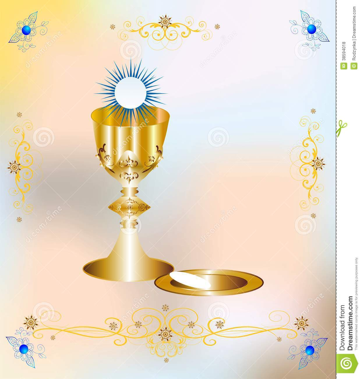 Background with characteristic symbols of holy communion