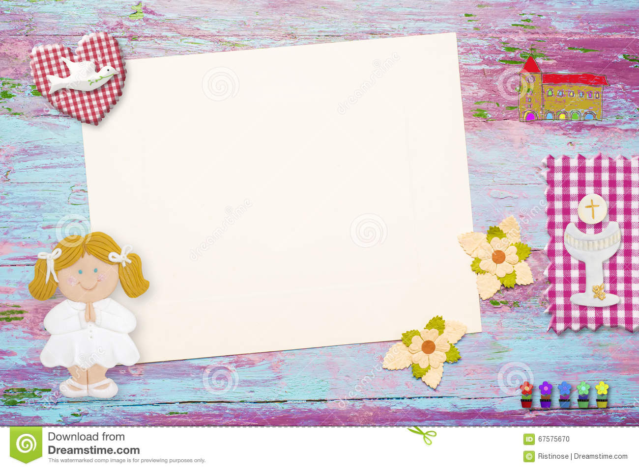 First Communion Background For Girl Stock Illustration