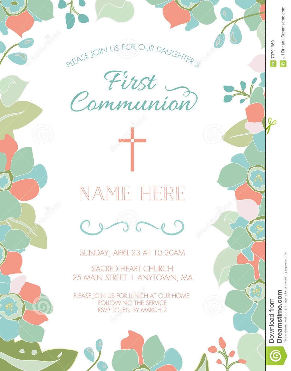 First Communion Baptism Christening Invitation Template With