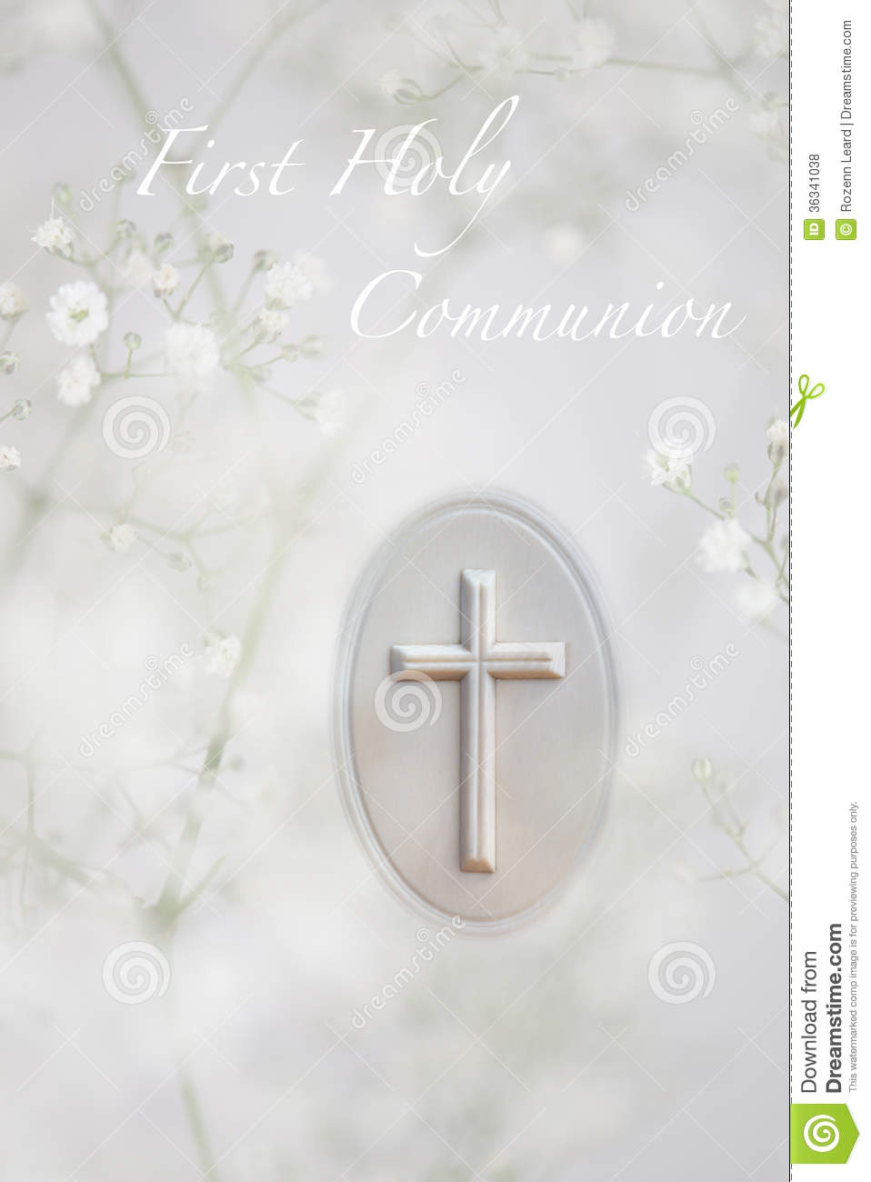 First Holy Communion greeting card, with white prayer book cross and ...