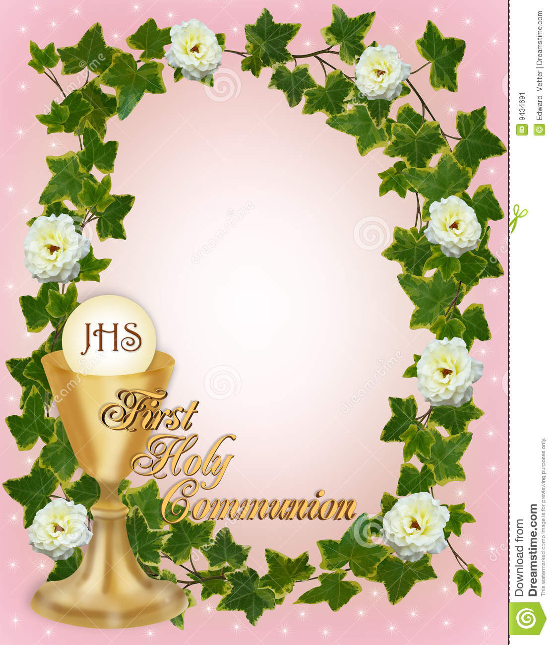 First Communion Invitation Border Stock Illustration Illustration