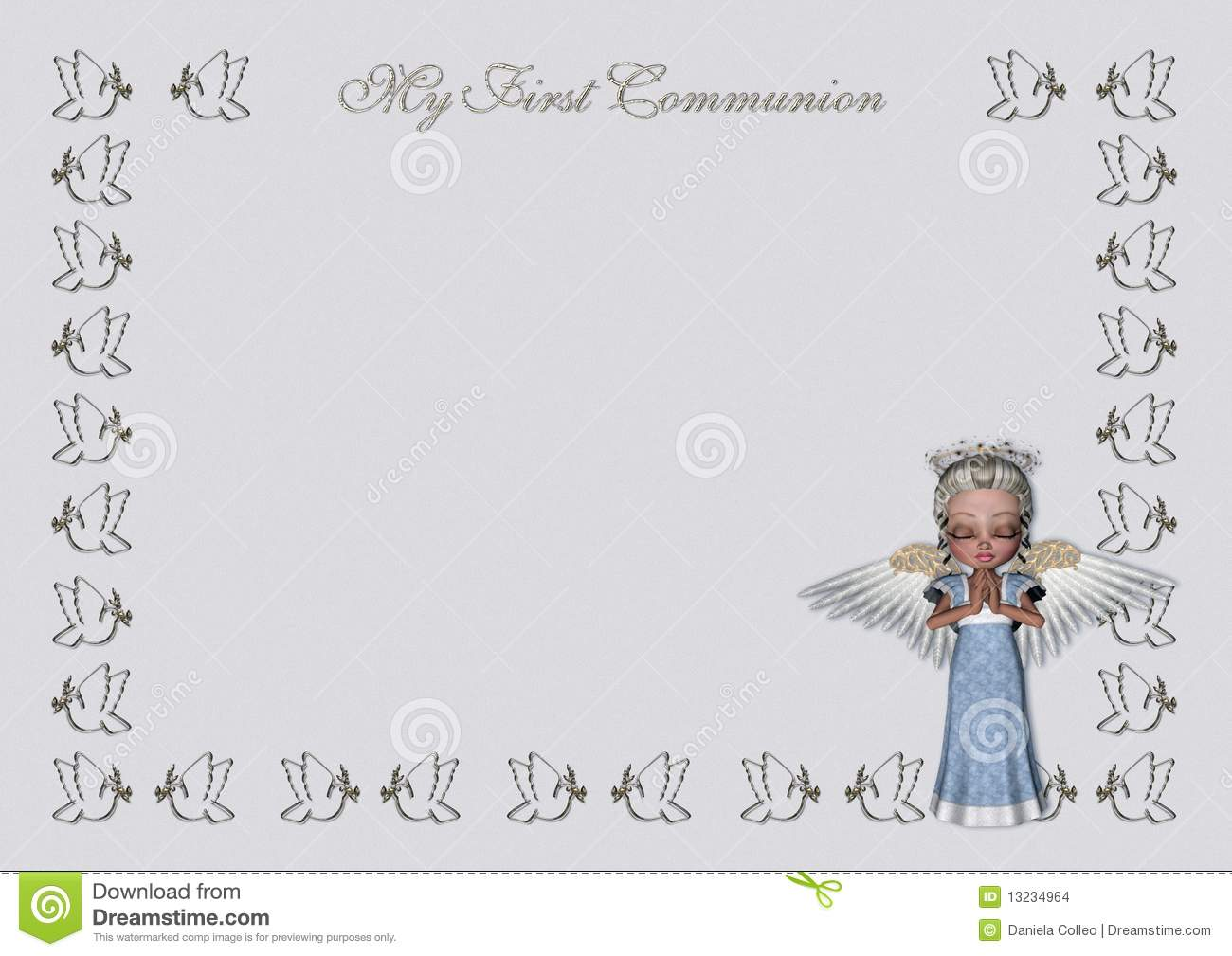 An elegant light blue/grey first communion invitation, with a frame ...