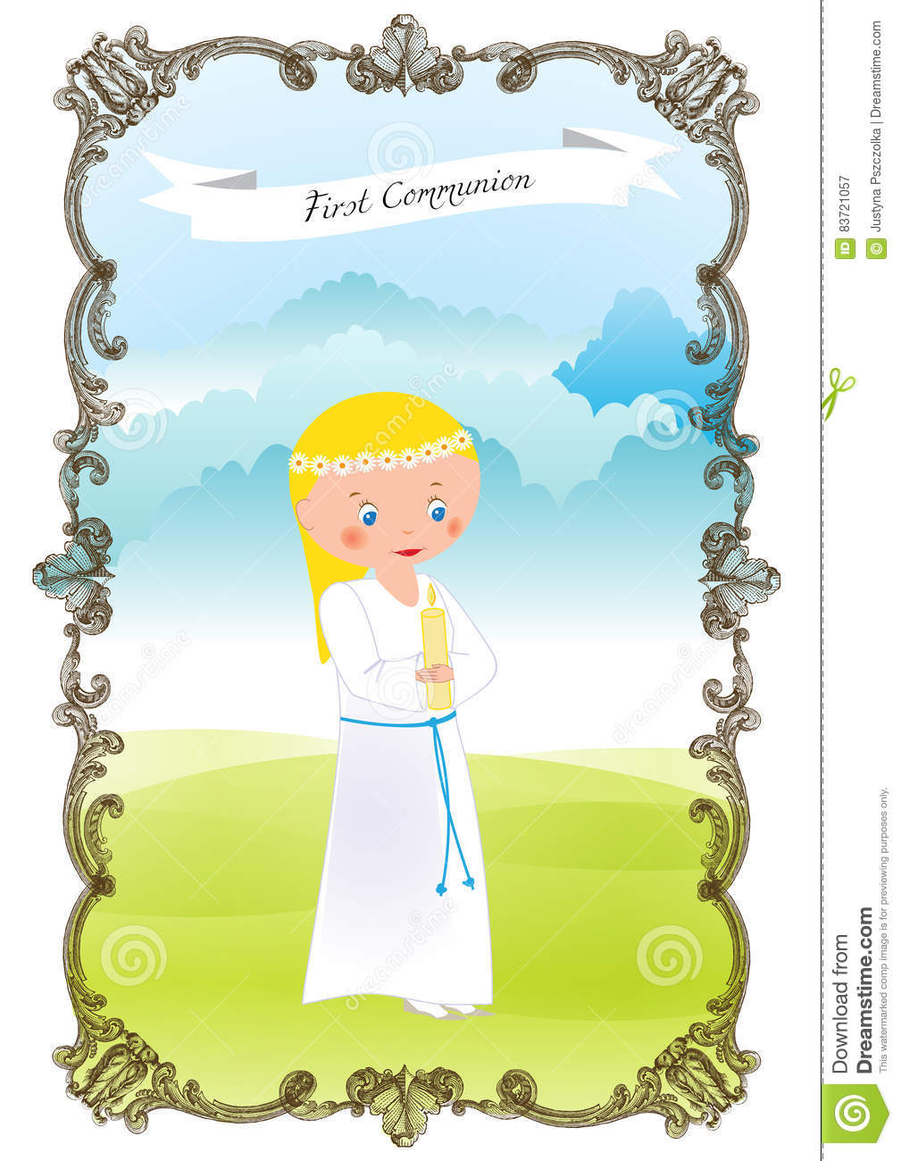First Communion Stock Vector