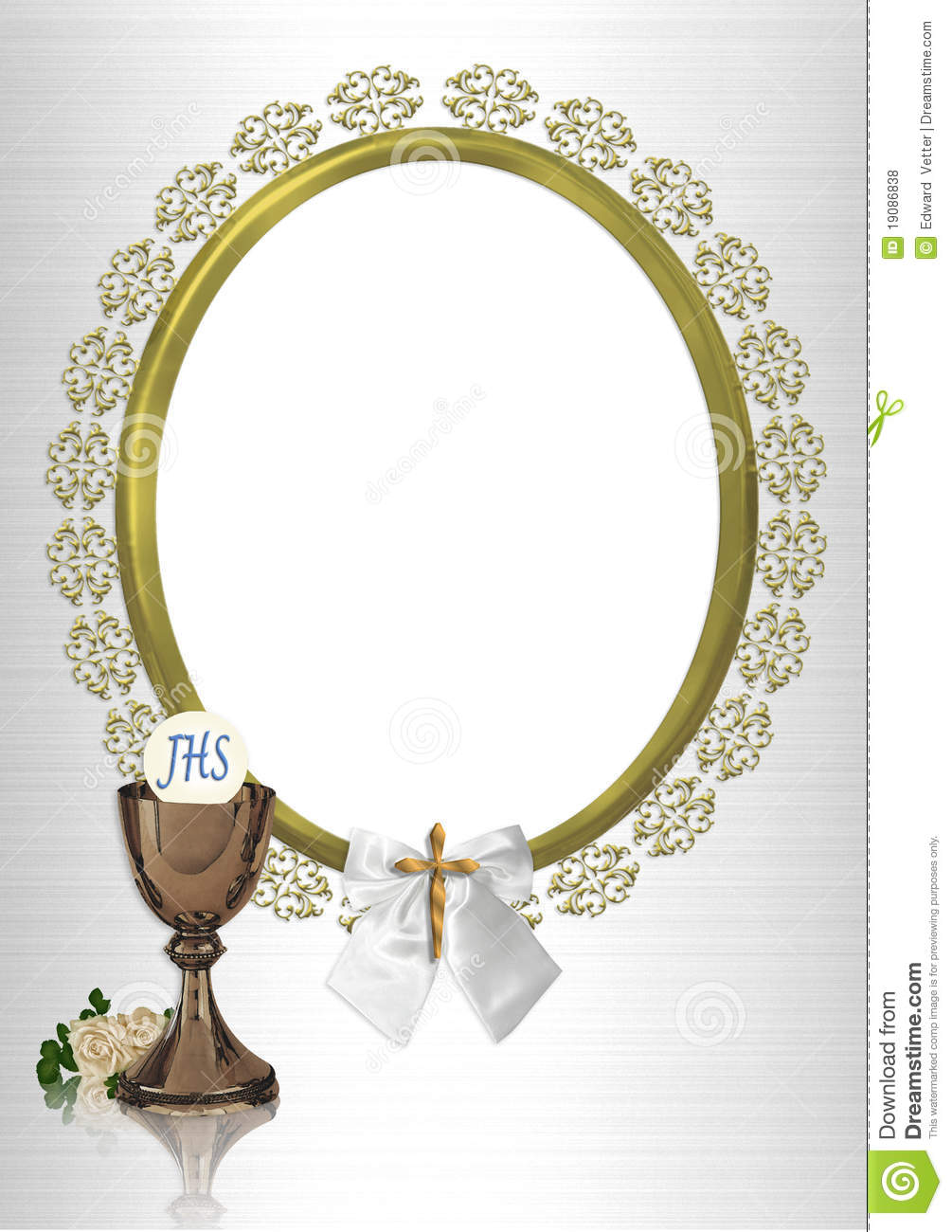 First Communion Oval Photo Frame Stock Illustration Illustration