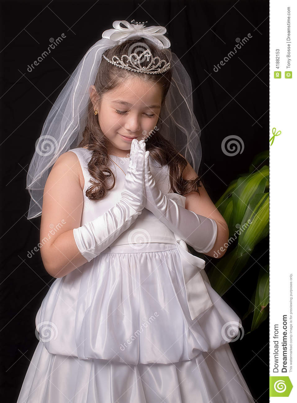 Girl First Birthday Outfit Pinterest: First Communion Stock Photo
