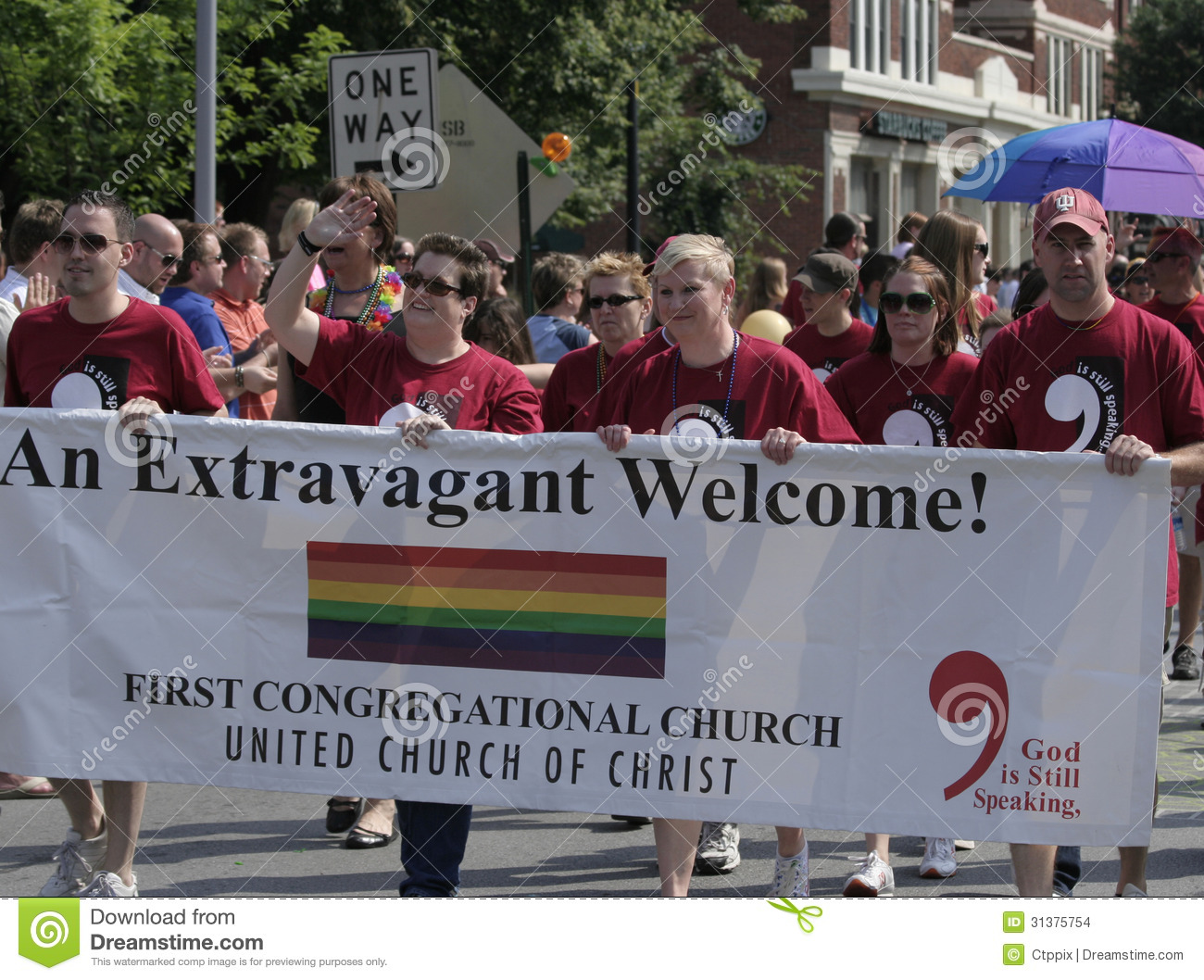 First Congregational Church Members walking at Indy Pride