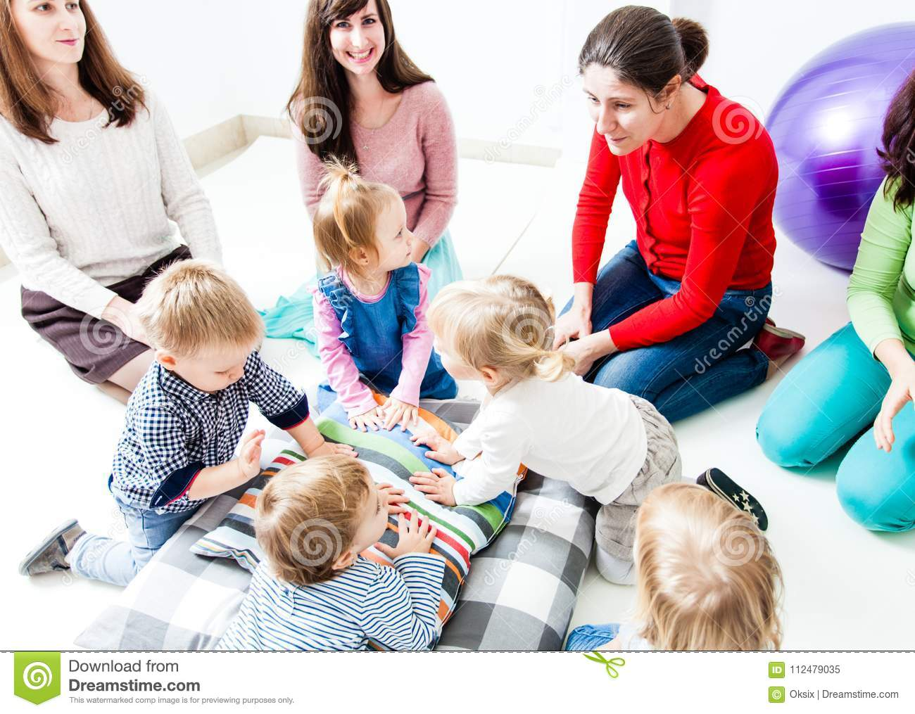 First Day Of Children In The Kindergarten Stock Image - Image of