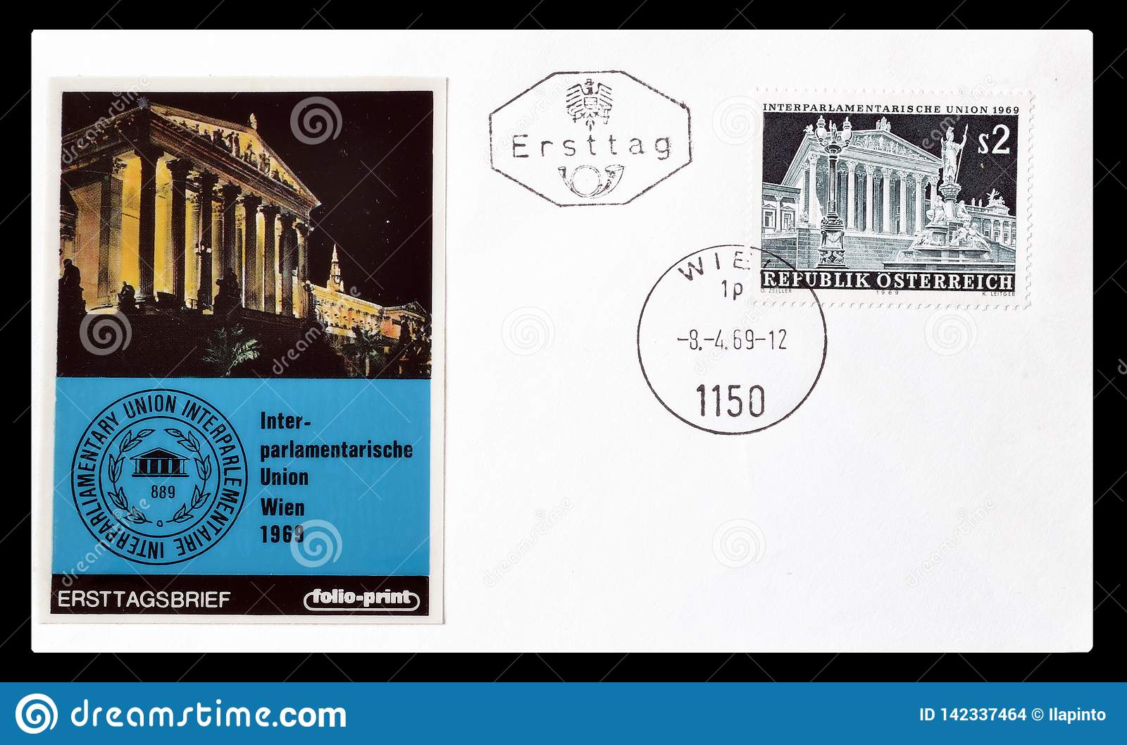 First Day Cover Letter Printed By Austria Editorial Stock ...