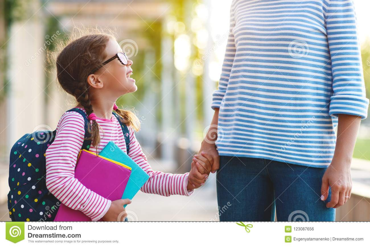 First Day At School  Mother Leads Little Child School Girl
