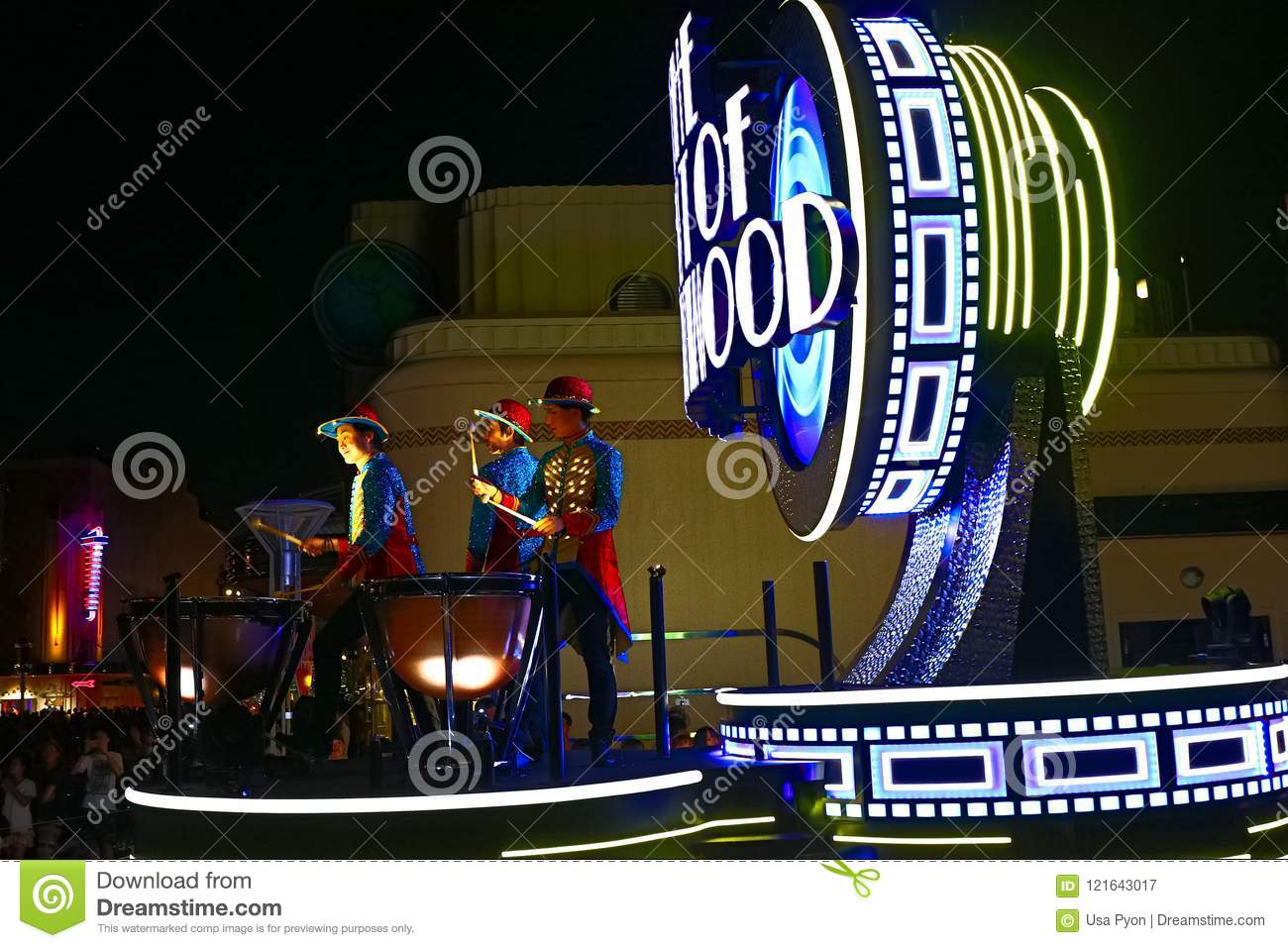 First float of the new revolutionary night`s UNIVERSAL SPECTACLE NIGHT parade