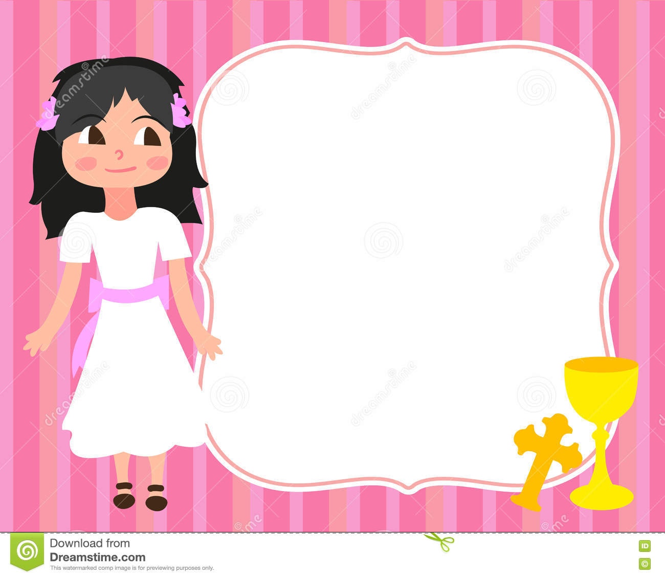 first holy communion card template little girl white dressinvitation cup cross