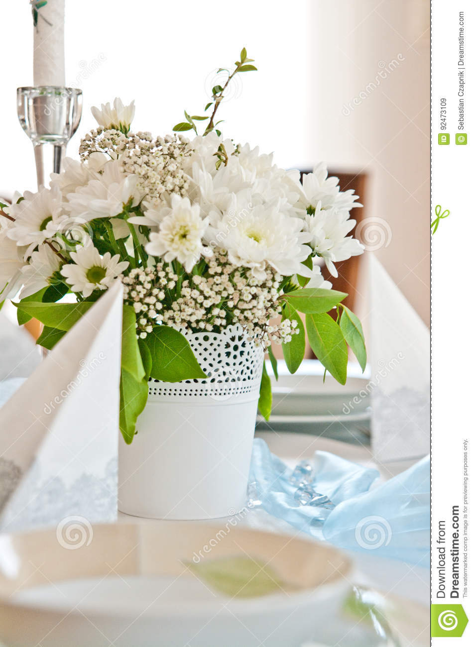 First Holy Communion Ceremony Table Setting Stock Image Image Of