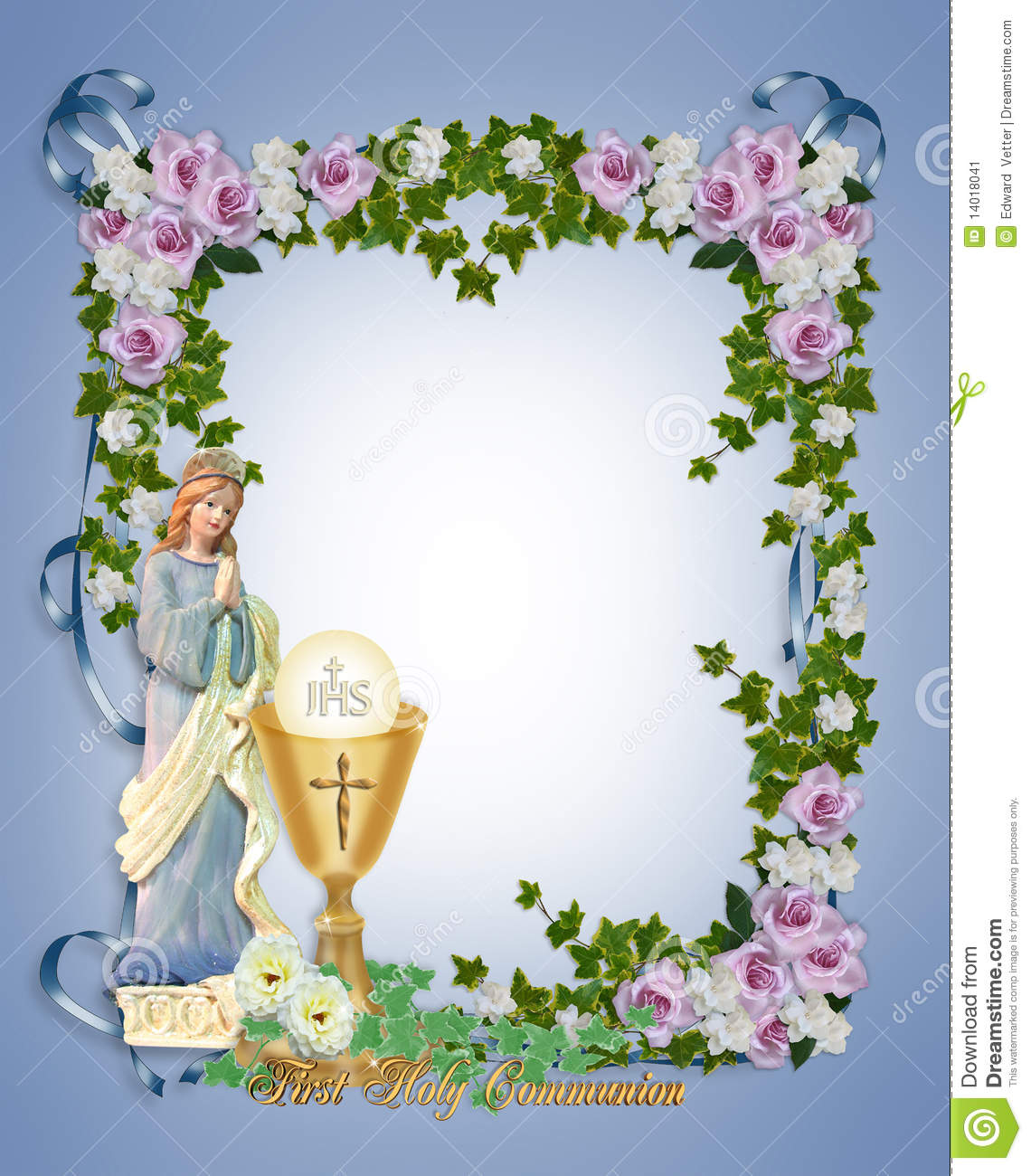 First Holy Communion Invitation Stock Illustration Illustration Of