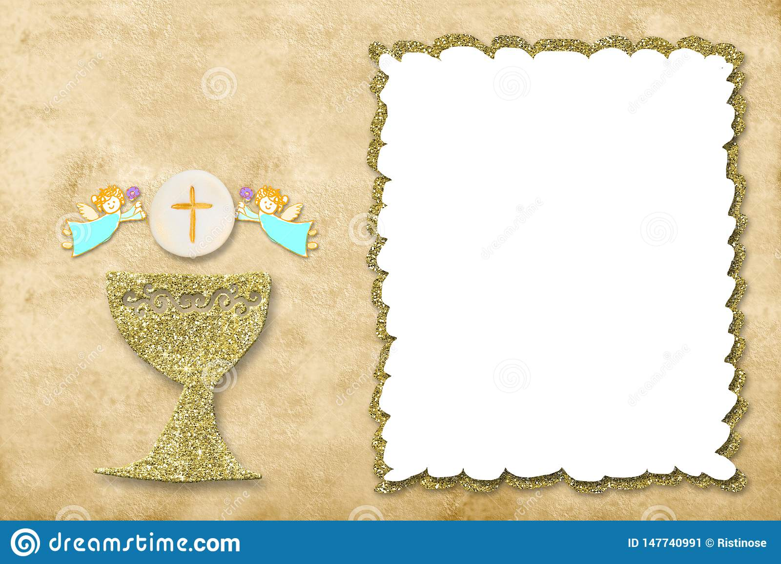 First holy communion invitation card photo frame