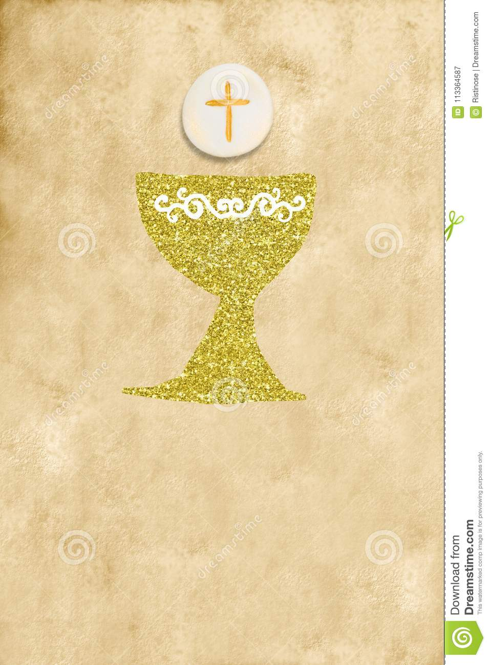 First Holy Communion Invitation Stock Image Image Of Background