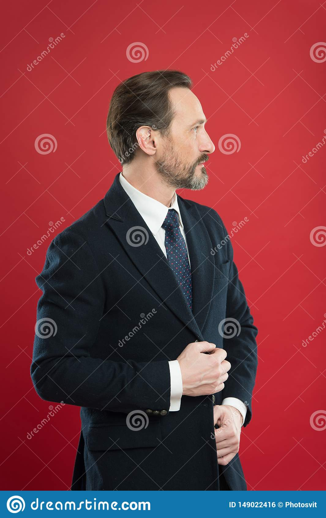 First impression concept. Impeccable style. Businessman fashionable outfit. Attractive man wear suit. Perfect elegant