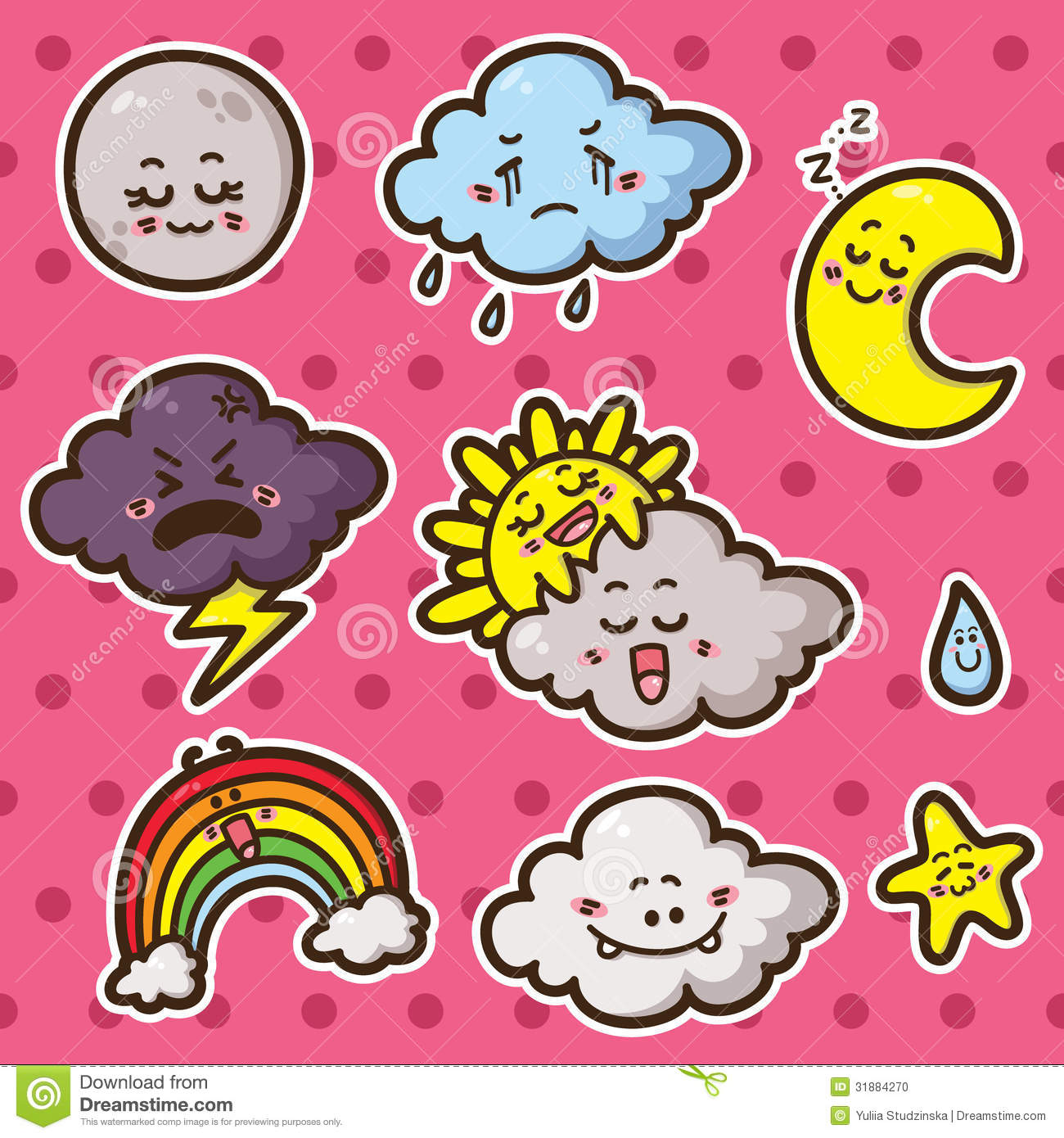First Kawaii Set Of Weather Icons Stock Photo Image