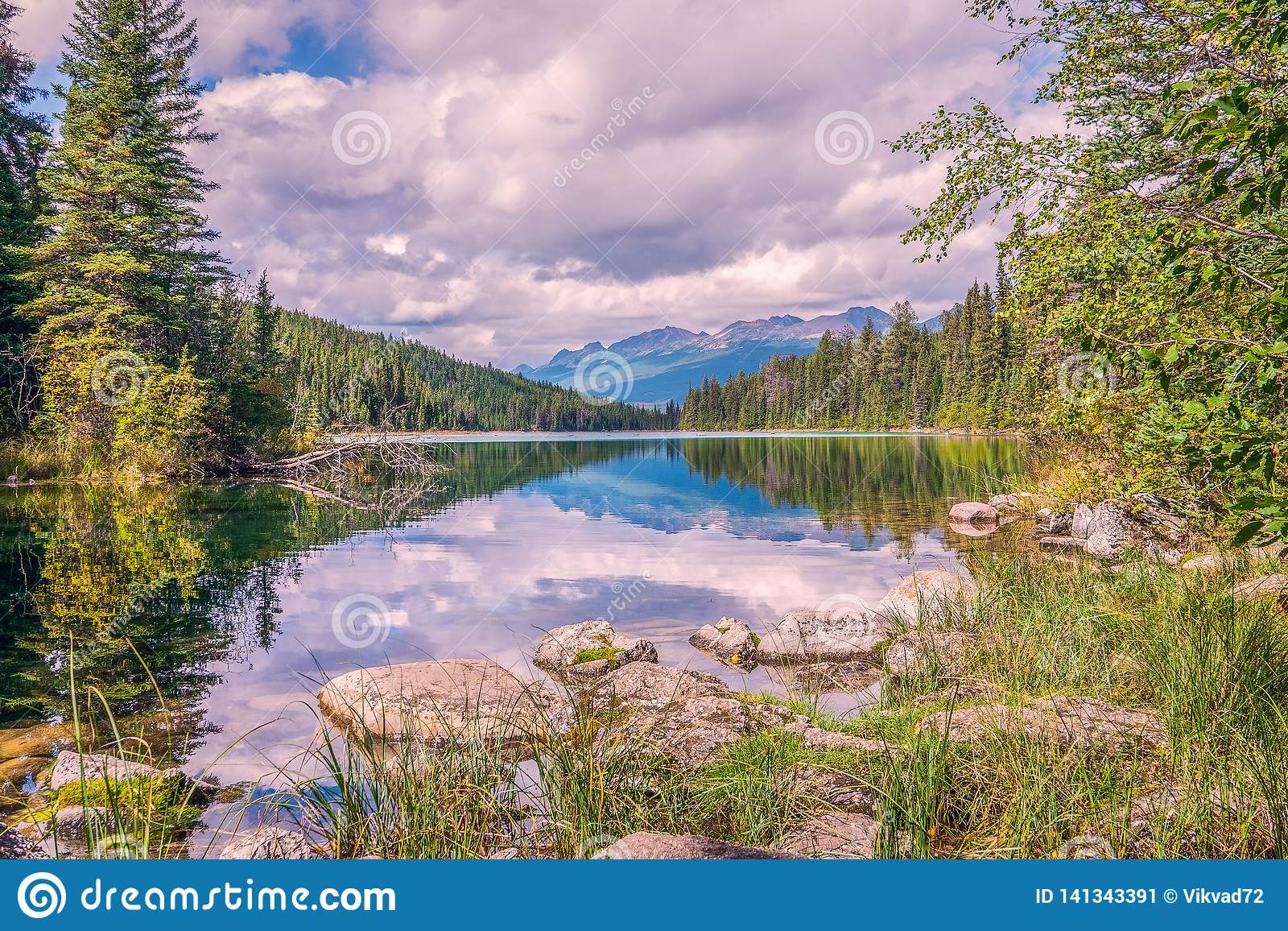 The first lake in the Valley of the Five lakes in Jasper National Park.Alberta.Canada