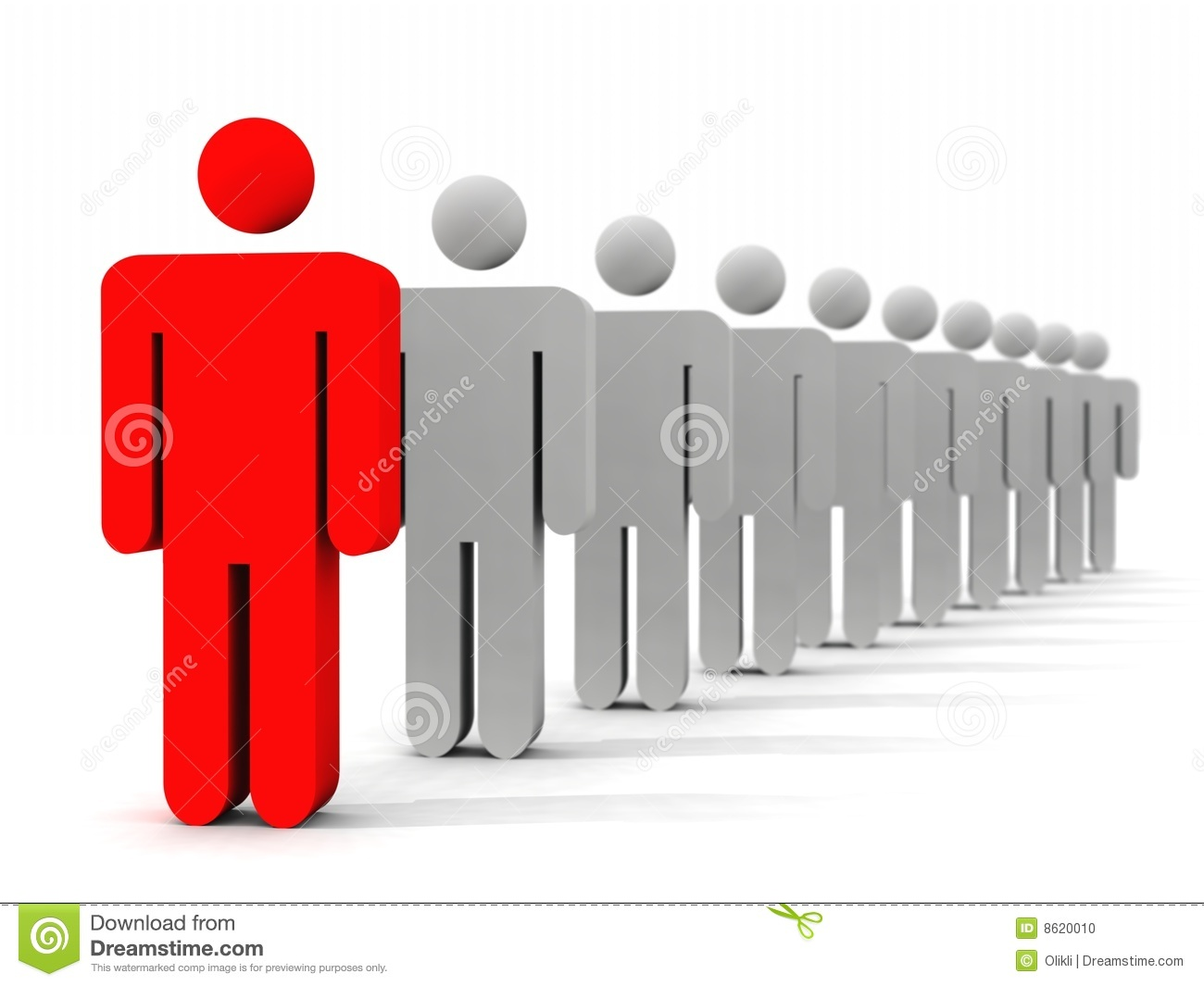 Symbolic 3d picture of a person standing in first place in a queue.