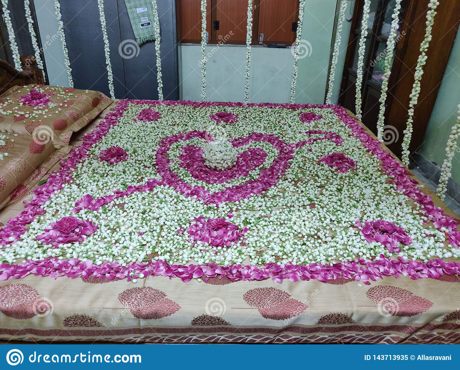 First Night Romantic Bed With Flowers Stock Image Image Of Beautiful Flower 143713935