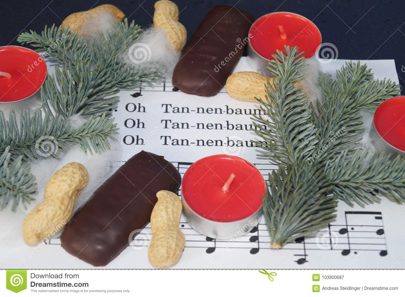 Christmas Song Note Sheed With Decoration Stock Image - Image of ...