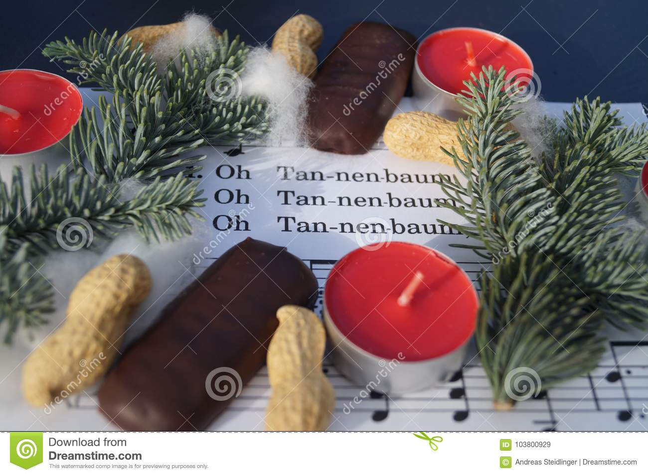 Christmas Song Note Sheed With Decoration Stock Image