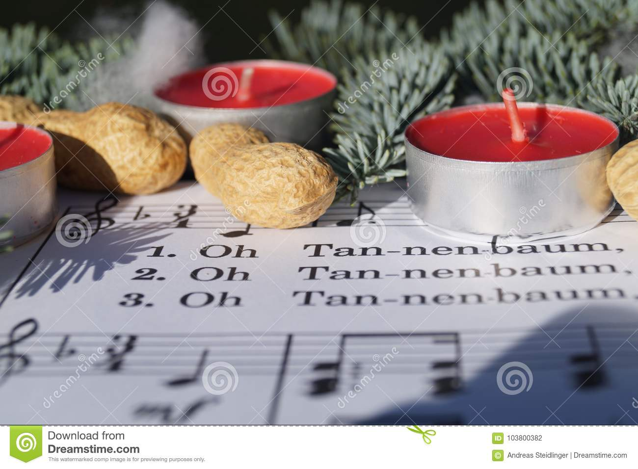 Christmas Song Note Sheed With Decoration Stock Photo - Image of ...