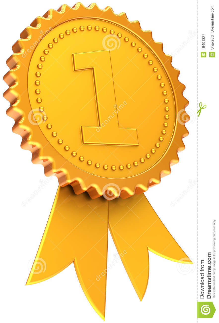 Award ribbon first place golden. Number one champion badge. Winner ...