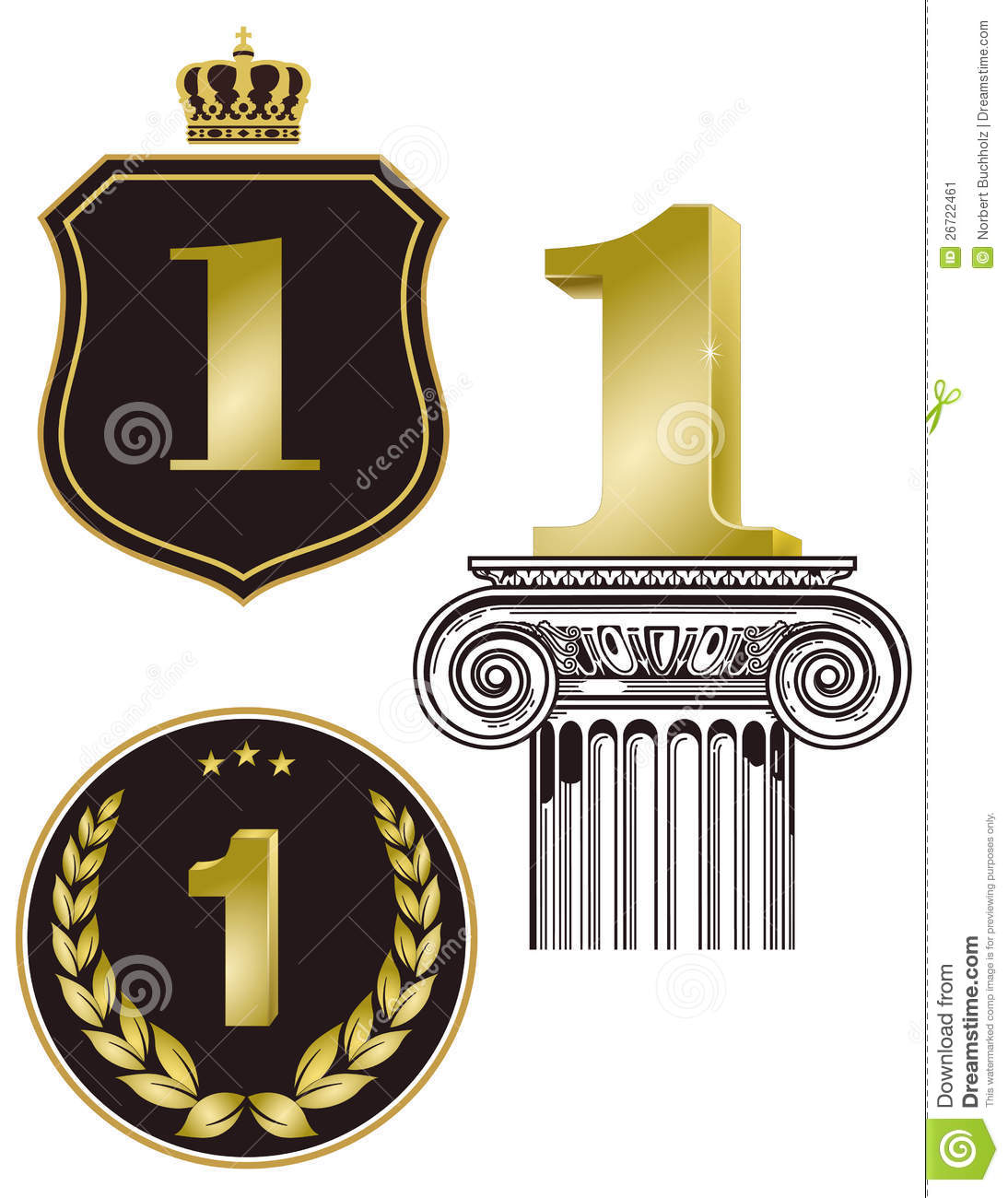 Illustration of first place or prize signs in gold isolated on white