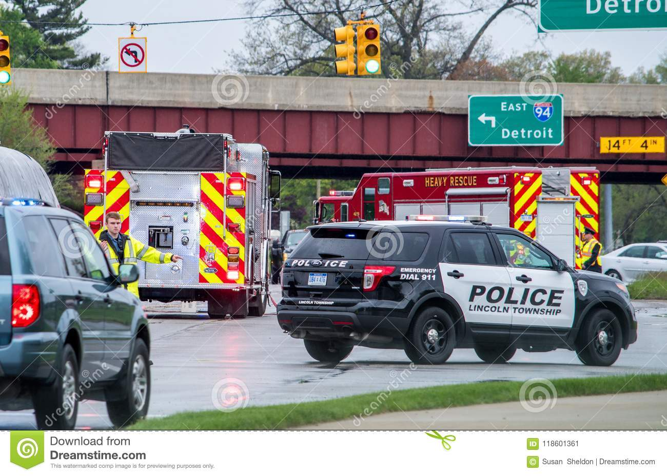 First Res-ponders At The Scene Of An Accident In Michigan