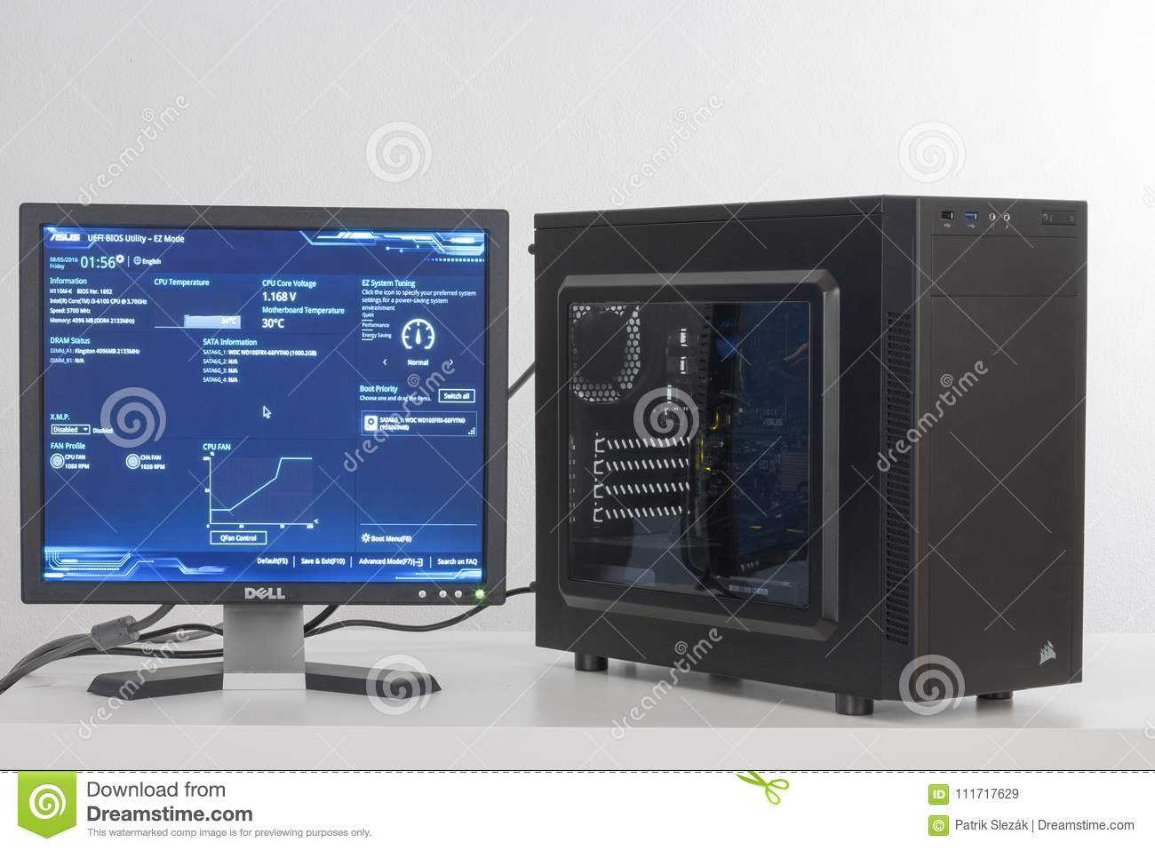 First Running Of PC, Bios, Firmware Program Of Motherboard Editorial