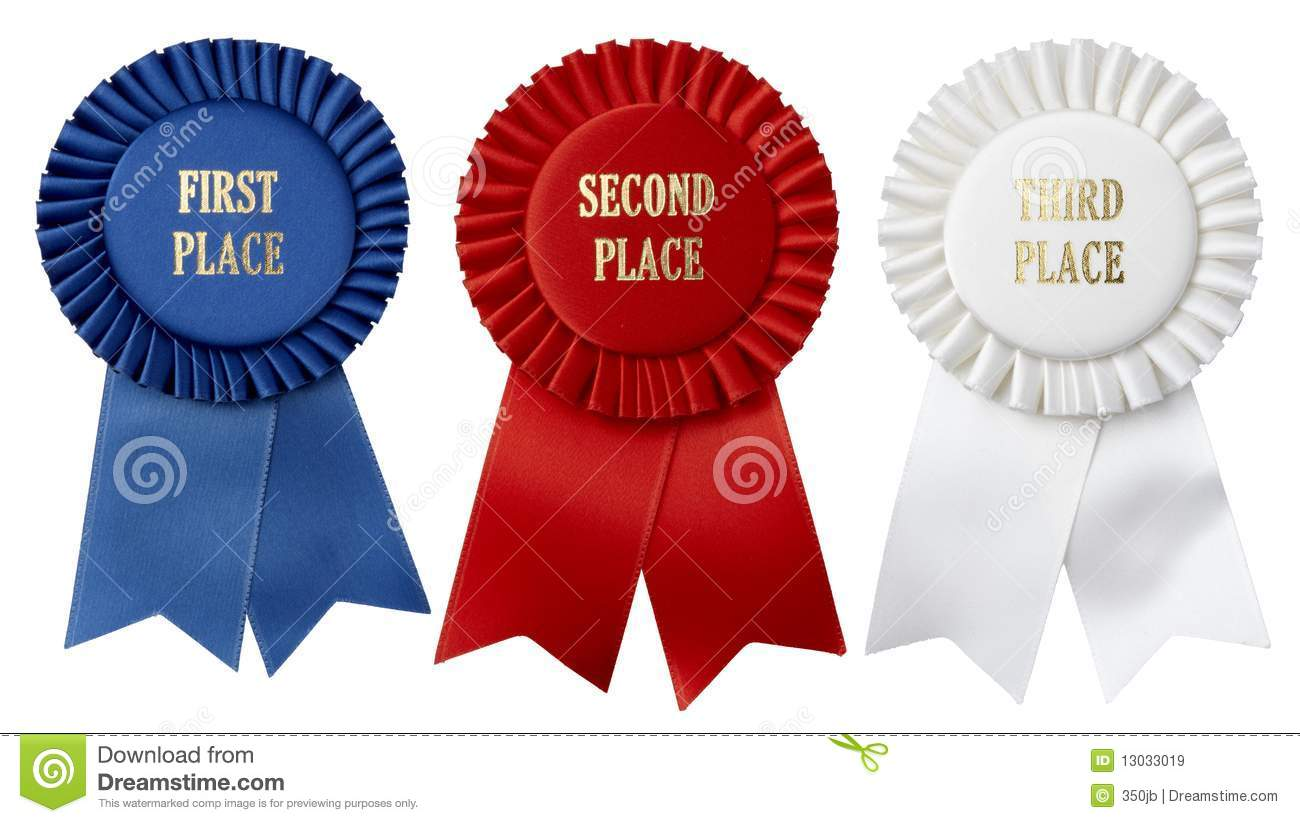 First  second  third place First Place Ribbon Red