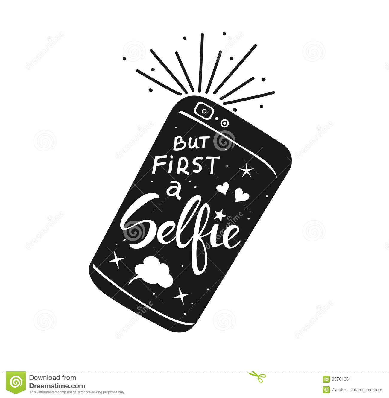 But First Selfie Hand Written Quote On A Smartphone Stock Image
