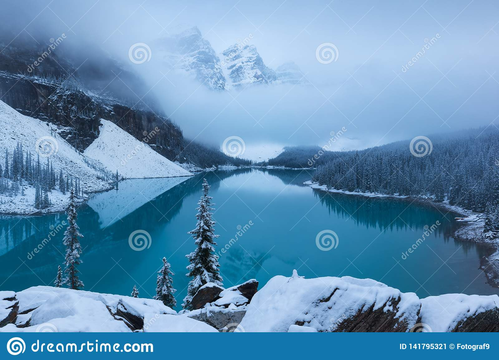 First Snow Morning At Moraine Lake In Banff National Park